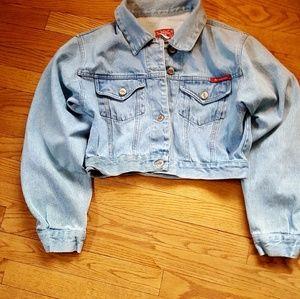 No Excuses Women Denim Cropped Jacket Size Large